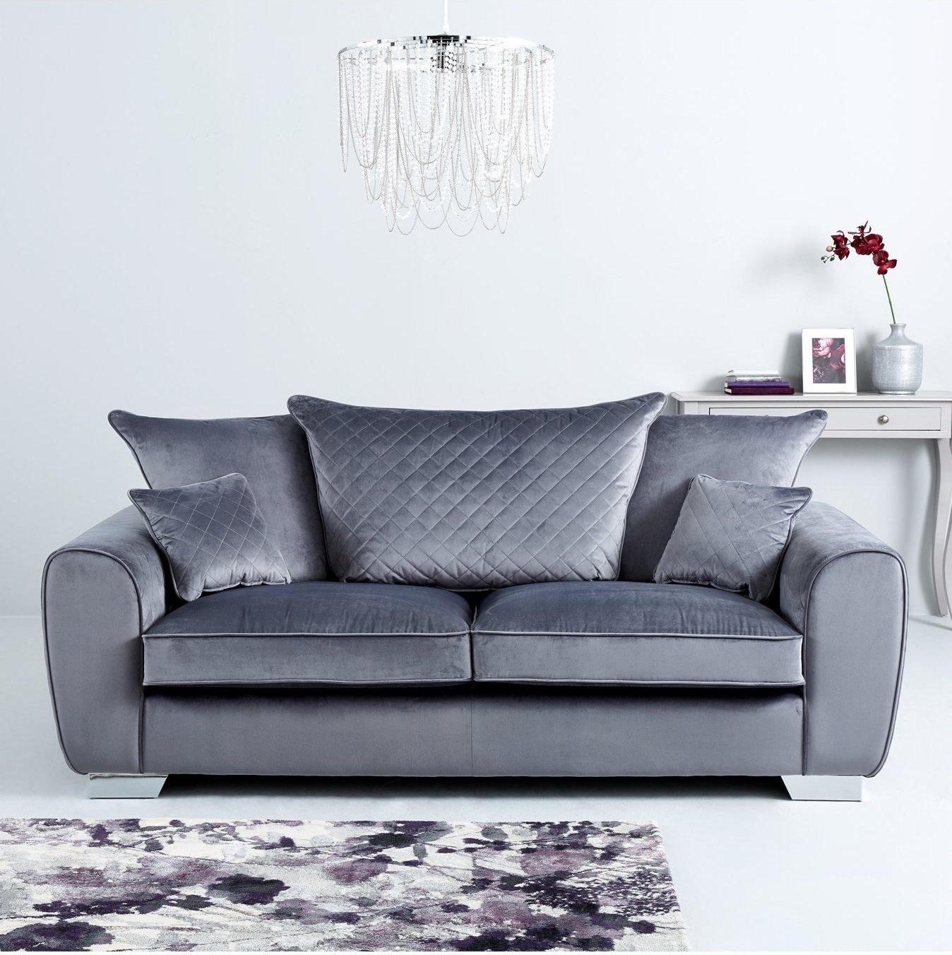 Vibe Fabric 3 Seater 2 Seater Sofa Set Grey