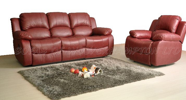 Admirable New Valencia 3 Seater Recliner Leather Sofa Red Creativecarmelina Interior Chair Design Creativecarmelinacom