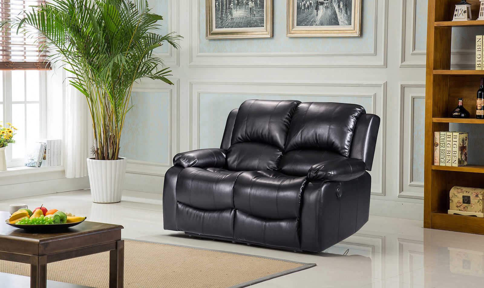 Outstanding New Valencia 2 Seater Leather Recliner Sofa Black Ibusinesslaw Wood Chair Design Ideas Ibusinesslaworg