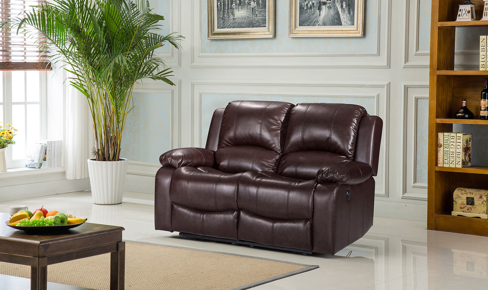 Fantastic New Valencia 2 Seater Leather Recliner Sofa Brown Alphanode Cool Chair Designs And Ideas Alphanodeonline